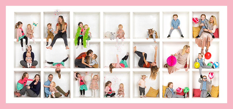 swieties in a box originele familie fotoshoot